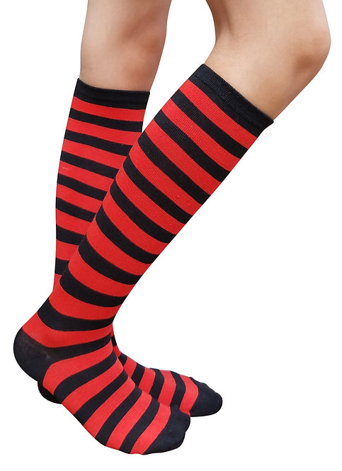Ladies's Cotton Knee-High Socks(Red/Black Stripe)