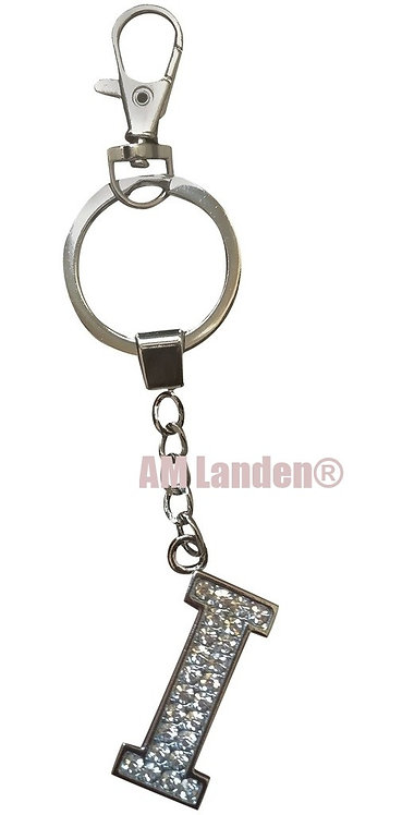 "Rhinestone Bling Crystal Alphabet ""I"" Key-chain"