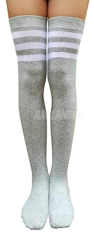 Ladies's Cotton Stripes Over-Knee High(Gray)
