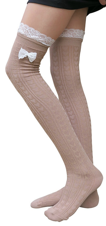 Lolita Style Cotton Over-Knee Bow Socks(Khaki)