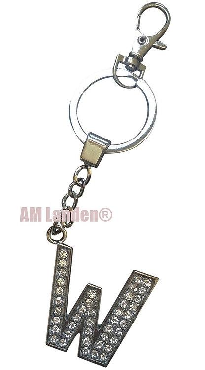 """Rhinestone Bling Crystal Alphabet """"W"""" Key-chain"""
