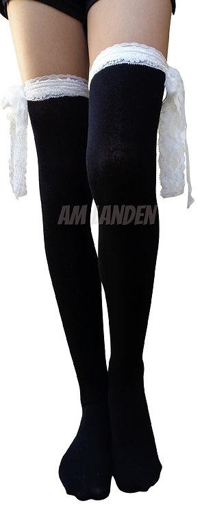 Lolita StyleCotton Over-Knee Socks(Black/LongLace)