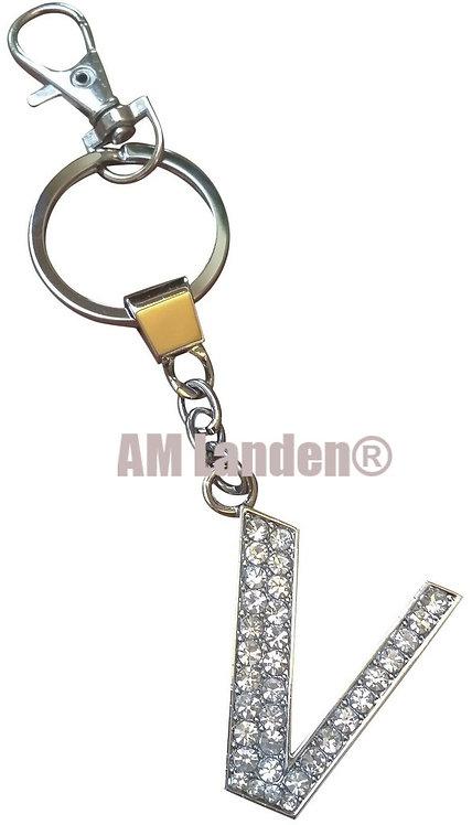 """Rhinestone Bling Crystal Alphabet """"V"""" Key-chain"""
