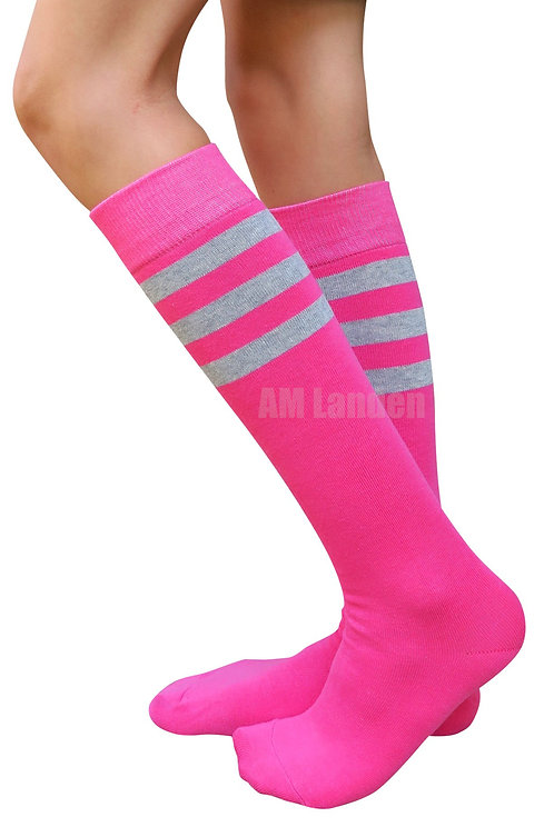 Ladies's Cotton Sport Knee-Highs Socks(Pink)