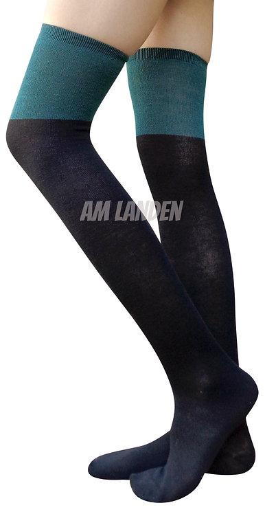 AM Landen Over-Knee Wool Socks(Black/Green)