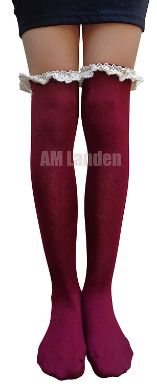 Ladies's Lace Trim Over-Knee Socks(Burgundy)