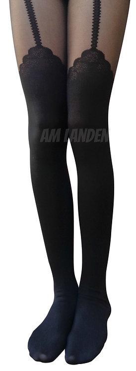 AM Landen Black/Black Mock Rose Garter Pantyhose