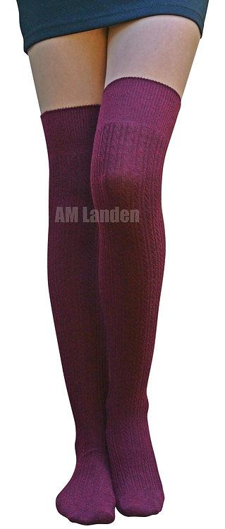 Over-Knee Highs Wool Knit Stripe Socks(Burgundy)