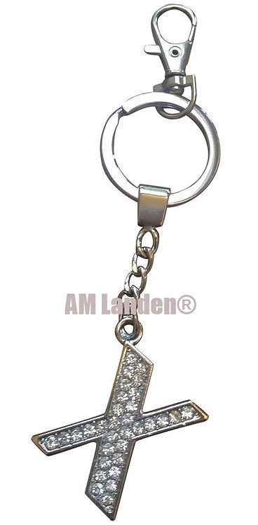 """Rhinestone Bling Crystal Alphabet """"X"""" Key-chain"""