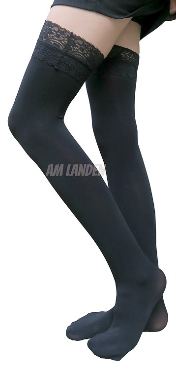 Black Lace Trim Thigh-High Solid Opaque Socks
