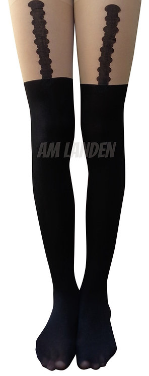 AM Landen Garter Print Mock Thigh-Highs Pantyhose