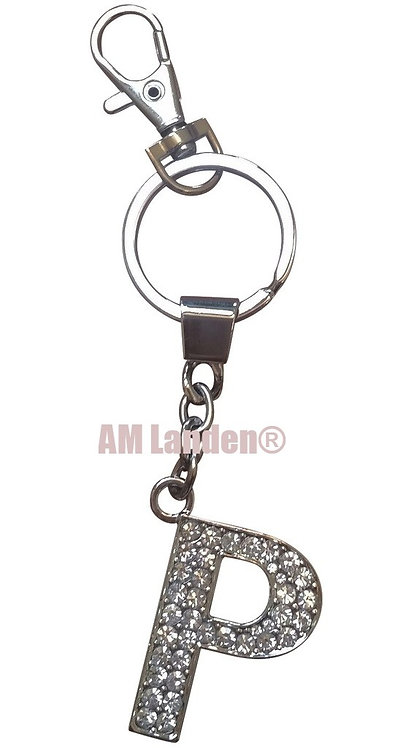 "Rhinestone Bling Crystal Alphabet ""P"" Key-chain"