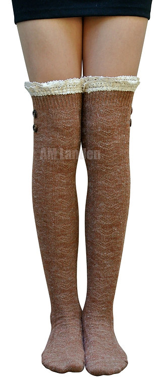 Over-Knee High Lace Wool Knit Socks(Champaign)