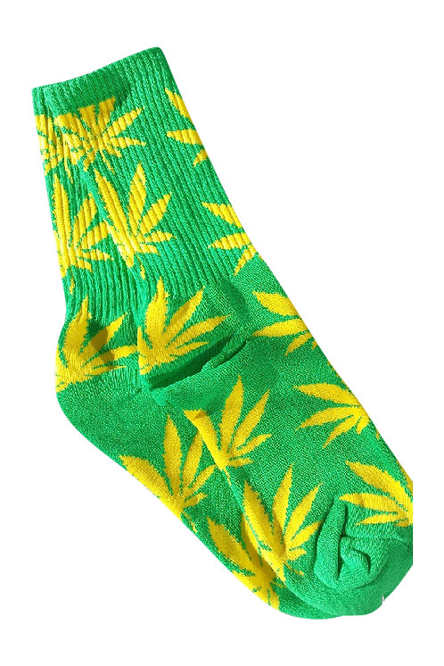 420/Weed/Pot/Marijuana Leaves Socks(Lime)