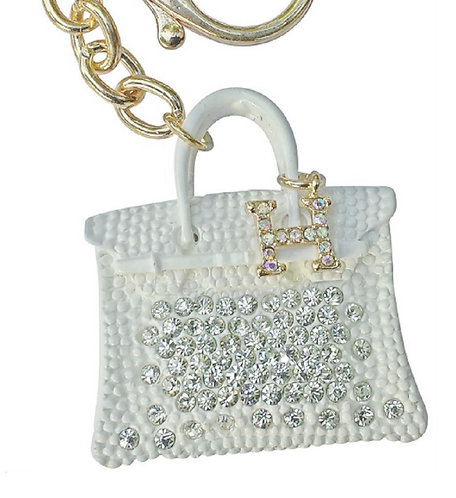 Rhinestone Keychain Bling Hand Charm (White H)