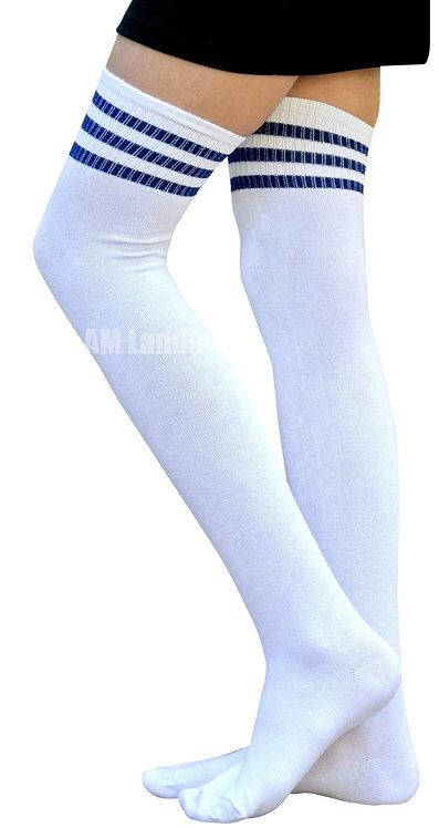 Ladies's Cotton Sport Over-Knee Highs(WT/Blue)
