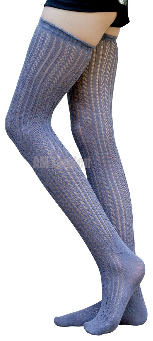 3483d366126 AM Landen Cotton Thigh-Highs Knit Socks(Gray A)