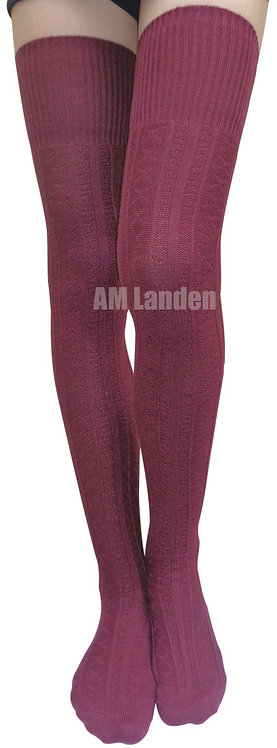 Ladies CottonThigh-Highs Knit Boot Socks(Burgundy)