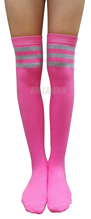 Ladies's Cotton Stripes Over-Knee Highs(Pink)