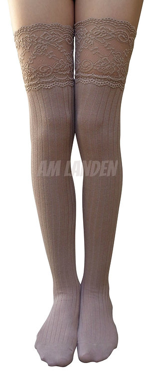 AM Landen Cotton Thigh-Highs Socks(Khaki/Lace)