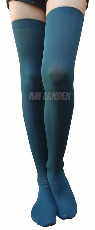 GREEN Thigh High/Over Knee High Solid Opaque Socks