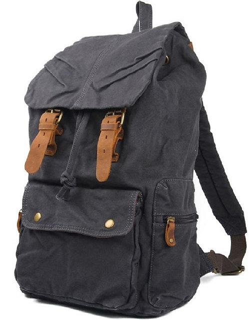 Heavy Duty Canvas Leather Straps Backpack(Gray)