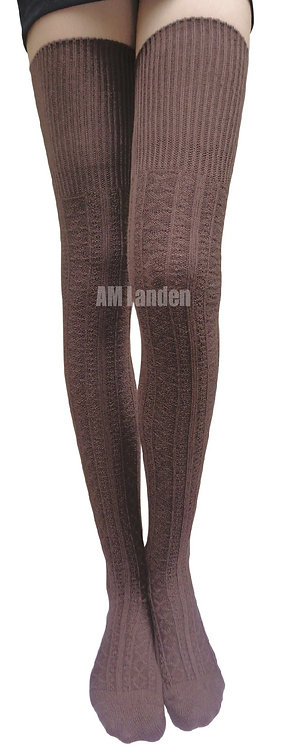 Ladies's Thigh-Highs Knit Boot Socks(Brown)