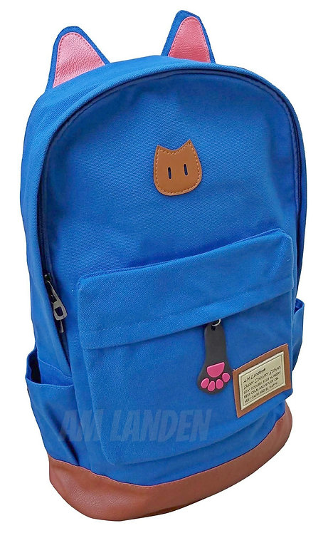 AM Landen Super Cute Diamond Blue Canvas CAT Ears Backpack