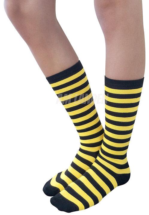 Ladies's Cotton Mid-Calf Socks(Yellow/Bk Stripe)