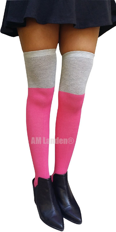 AM Landen Two Tone Over-Knee Cotton Socks(Pink)