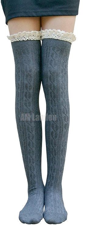 AM Landen Cotton Lace Trim Thigh-Highs (Gray)