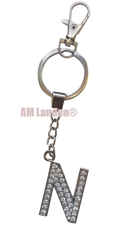 "Rhinestone Bling Crystal Alphabet ""N"" Key-chain"