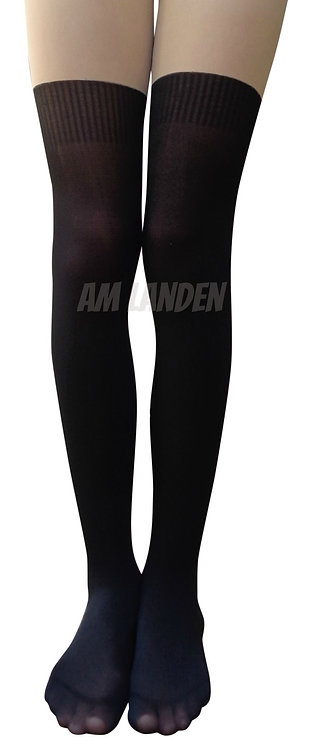 AM Landen Black Thread Mock Thigh-High Pantyhose