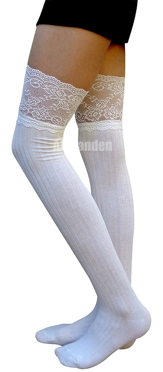AM Landen Cotton Thigh-Highs Socks(White/Lace)