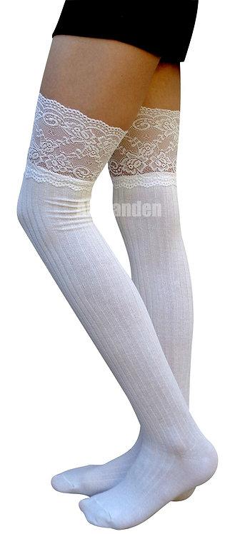 AM Landen Cotton Thigh-Highs Socks(White/Lace)