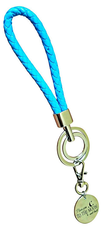 I Love You Teal Blue Synthetic Braided Leather Key-Chain