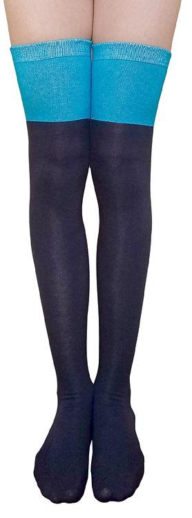 Two Tone Over-Knee Cotton Socks(Black/Blue)