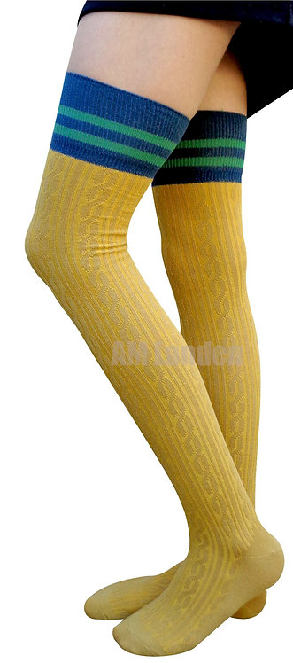 AM Landen Cotton Thigh-Highs Socks(Mustard/Stripe)