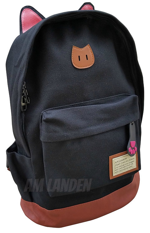 AM Landen Canvas CAT Ears Backpack-Black