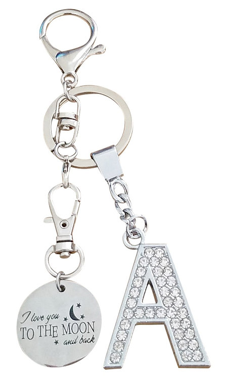 I love you to the moon and back Rhinestone Alphabet A Letter A Key chain