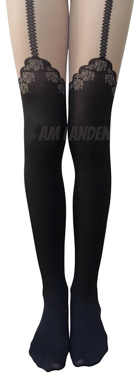 AM Landen Nude/Black Mock Rose Garter Pantyhose