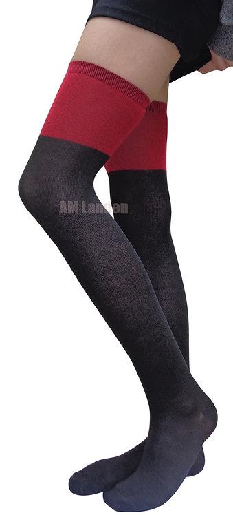 AM Landen Over-Knee Wool Socks(Black/Red)