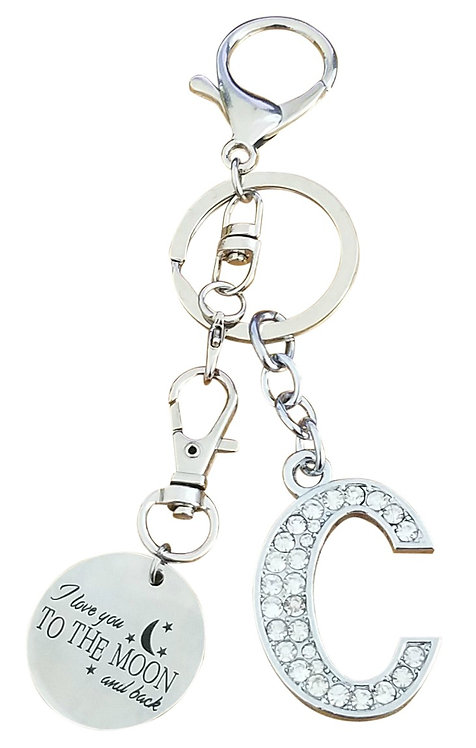 I love you to the moon and back Rhinestone Alphabet C Letter C Key chain