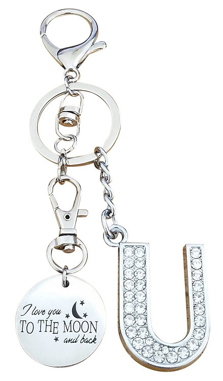 I love you to the moon and back Rhinestone Letter U Key-chain