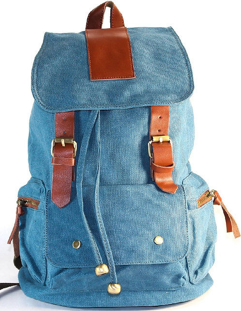 Blue Canvas Backpack School Bag Travel Bag