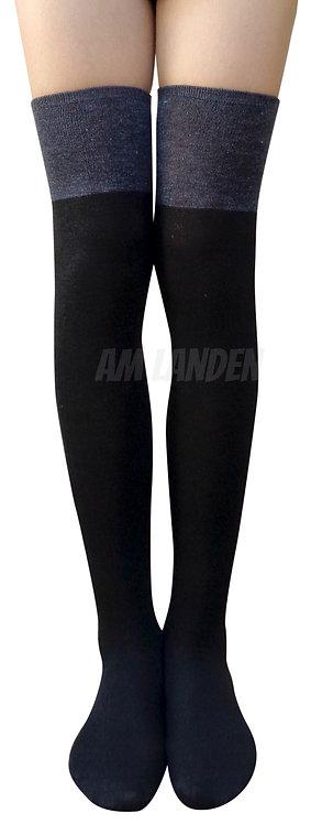 AM Landen Over-Knee Cotton Socks(Black/Gray)