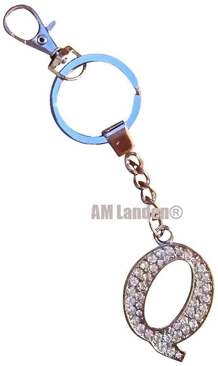 "Rhinestone Bling Crystal Alphabet ""Q"" Key-chain"