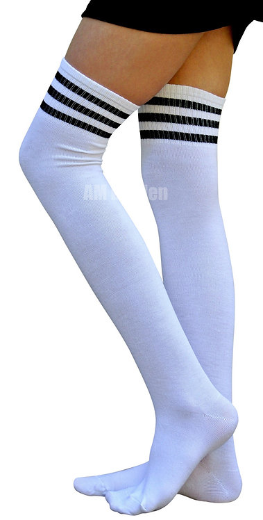Ladies's Cotton Sport Over-Knee Highs(WT/Black))