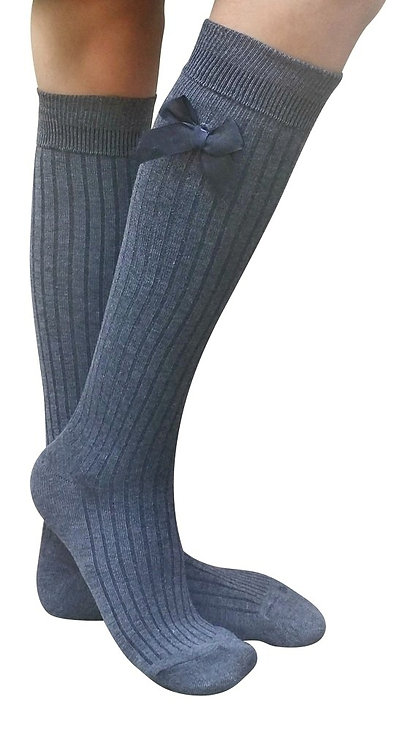 AM Landen Knee-Highs Wool Bow Socks(Gray)