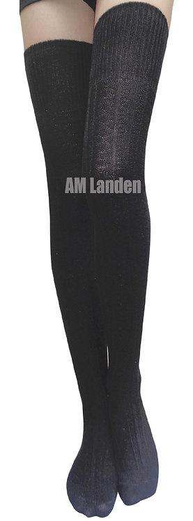 Ladies's Thigh-Highs Knit Boot Socks(Black)